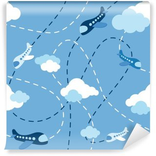 Wall Mural - Vinyl Seamless airplane pattern