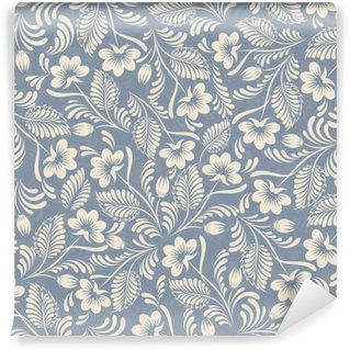 Wall Mural - Vinyl Seamless background in folk style blue