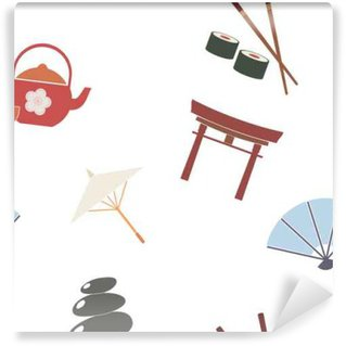 Wall Mural - Vinyl Seamless background with Japanese symbols for your design