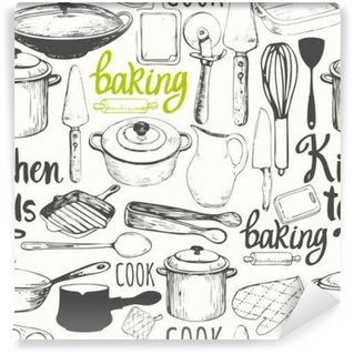 Seamless background with kitchen appliances and tools. Menu pattern. Vinyl Wall Mural