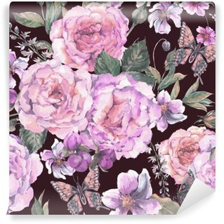 Vinyl Wall Mural Seamless background with roses and butterfly