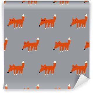 seamless cute fox pattern Wall Mural - Vinyl