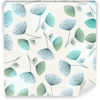 Seamless dandelion pattern in trendy colors Wall Mural - Vinyl