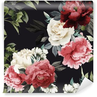 Wall Mural - Vinyl Seamless floral pattern with roses, watercolor. Vector illustrat
