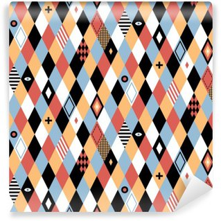 Seamless geometric pattern in flat style with colorful rhombuses. Useful for wrapping, wallpapers and textile.