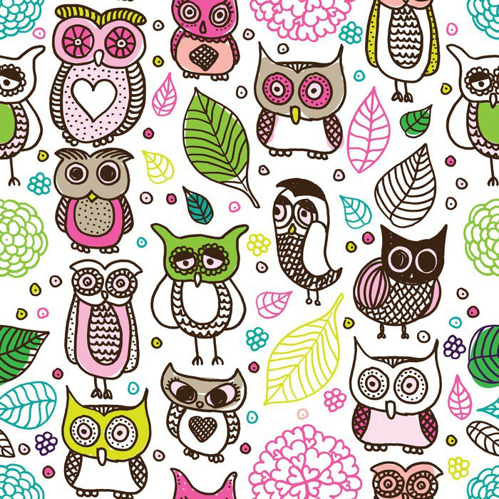 Seamless kids owl doodle pattern background in vector Wall ...