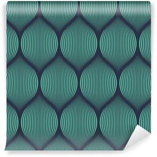 Wall Mural - Vinyl Seamless neon blue optical illusion woven pattern vector