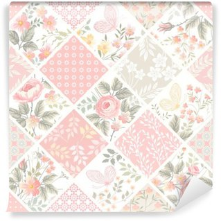 seamless patchwork pattern with roses and butterflies in pastel color