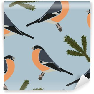 Seamless pattern bullfinch blue, vector