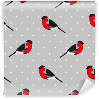 Seamless pattern in polka dot with bullfinch. Ornament for textile and wrapping. Vector background.