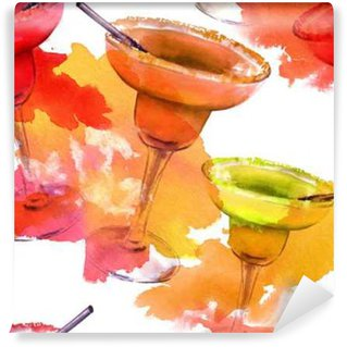 Seamless pattern of bright Margarita cocktails with splashes