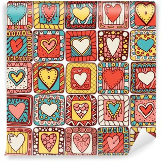 Wall Mural - Vinyl Seamless pattern of original doodle hearts.