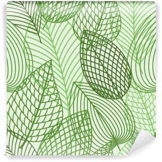 Wall Mural - Vinyl Seamless pattern of spring outline reen leaves
