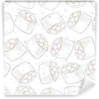 Seamless pattern of sushi