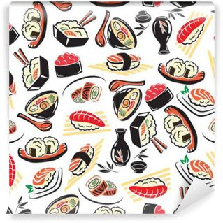 Wall Mural - Vinyl Seamless pattern of traditional japanese cuisine