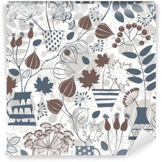 Wall Mural - Vinyl Seamless pattern with autumn bouquets.