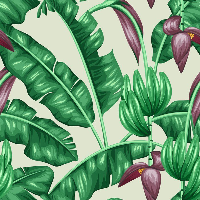 Vinyl Wall Mural Seamless pattern with banana leaves. Decorative image of tropical foliage, flowers and fruits. Background made without clipping mask. Easy to use for backdrop, textile, wrapping paper - Plants and Flowers