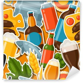 Seamless pattern with beer stickers and objects