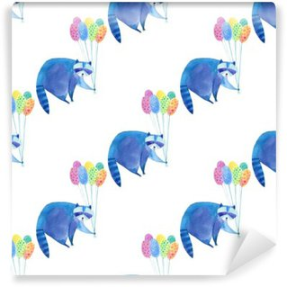 Seamless pattern with blue raccoon and colorful balloon.Watercolor hand drawn illustration.White background.Animals illustration. Wall Mural - Vinyl