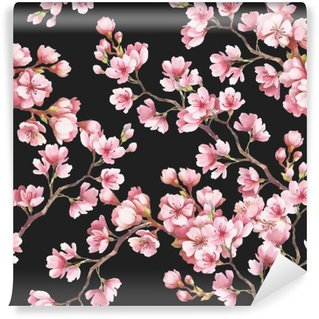 Seamless pattern with cherry blossoms. Watercolor illustration. Wall Mural - Vinyl
