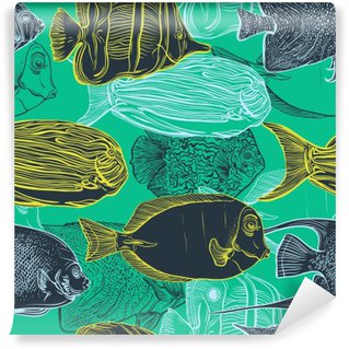 Seamless pattern with collection of tropical fish.Vintage set of hand drawn marine fauna.Vector illustration in line art style.Design for summer beach, decorations. Wall Mural - Vinyl