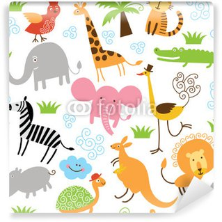 seamless pattern with cute animals Wall Mural - Vinyl