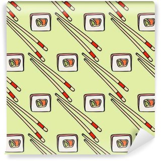 Seamless pattern with hand-drawn cartoon japanese food icon - sushi with avocado, omelet, fish. Doodle drawing. Vector illustration - swatch inside