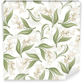 Seamless pattern with lily of the valley and snowdrop flowers. Wall Mural - Vinyl