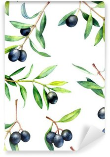 Wall Mural - Vinyl Seamless pattern with olive branches. Hand drawn watercolor illustration.