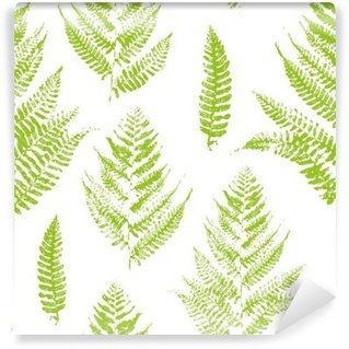 Wall Mural - Vinyl Seamless pattern with paint prints of fern leaves