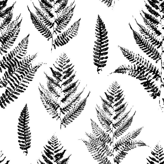 Vinyl Wall Mural Seamless pattern with paint prints of fern leaves - Industrial