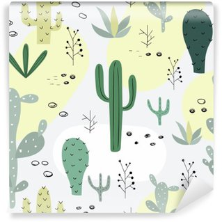 Seamless pattern with succulents. Wall Mural - Vinyl