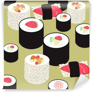 Wall Mural - Vinyl seamless pattern with sushi and rolls on the ocher background. v