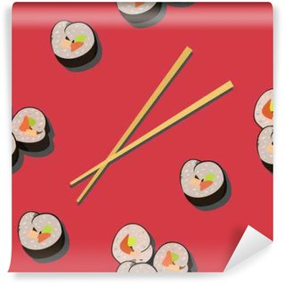 Seamless pattern with sushi roll and chopsticks