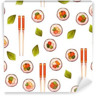 Wall Mural - Vinyl Seamless pattern with sushi. Vector background