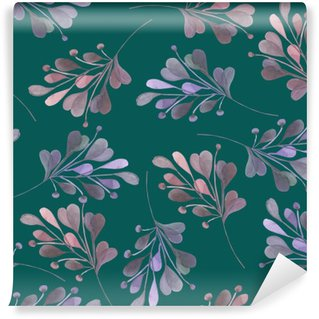 Seamless pattern with the watercolor pink and purple leaves and branches on a dark green background, wedding decoration, hand drawn in a pastel