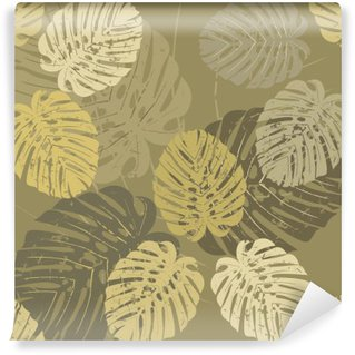 Seamless Pattern with tropical leaves of Monstera Vinyl Wall Mural