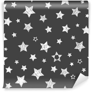 Seamless pattern with white stars on black background. Stylish p Wall Mural - Vinyl