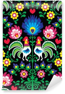 Seamless Polish folk art pattern with roosters - Wzory Lowickie, Wycinanka Wall Mural - Vinyl