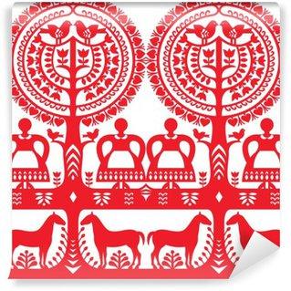 Wall Mural - Vinyl Seamless Polish folk art pattern Wycinanki Kurpiowskie - Kurpie Papercuts
