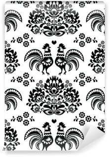 Seamless Polish, Slavic black folk art pattern with roosters Wall Mural - Vinyl