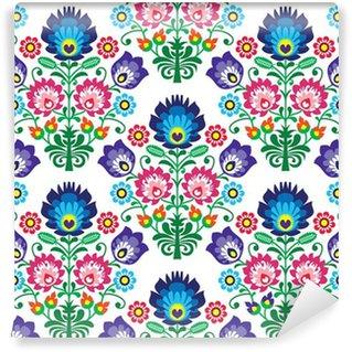 Wall Mural - Vinyl Seamless Polish, Slavic folk art floral pattern - wzory lowickie