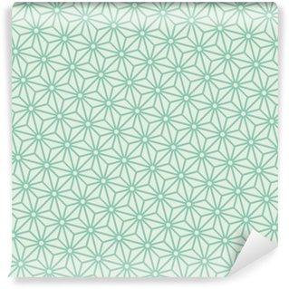 Wall Mural - Vinyl Seamless turquoise diagonal japanese asanoha pattern vector