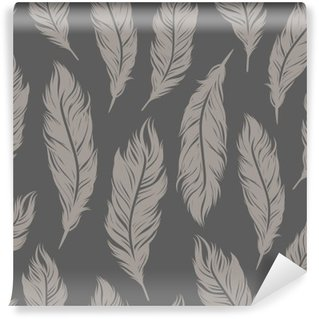 Seamless vector pattern with gray feather symbols Wall Mural - Vinyl
