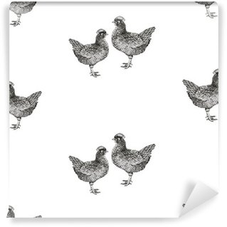 Seamless vector pattern with hens and chicks. Wall Mural - Vinyl