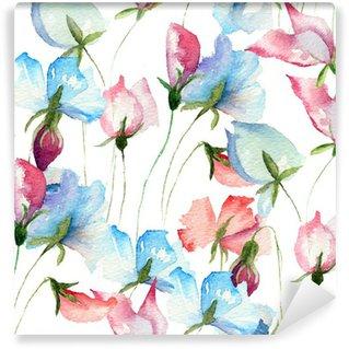 Wall Mural - Vinyl Seamless wallpaper with Sweet pea flowers