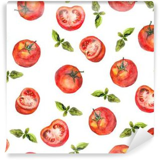 Vinyl Wall Mural Seamless wallpaper with tomato vegetables and green basil