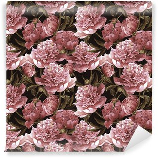 Seamless watercolor background with pink peonies Wall Mural - Vinyl