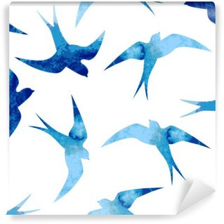 Seamless watercolor pattern with blue swallows Wall Mural - Vinyl