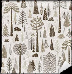 Seamless winter pattern of coniferous forest Wall Mural - Vinyl